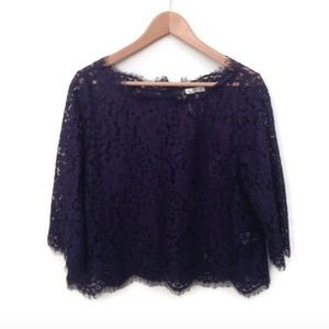 NWT Joie lace crop top XS navy